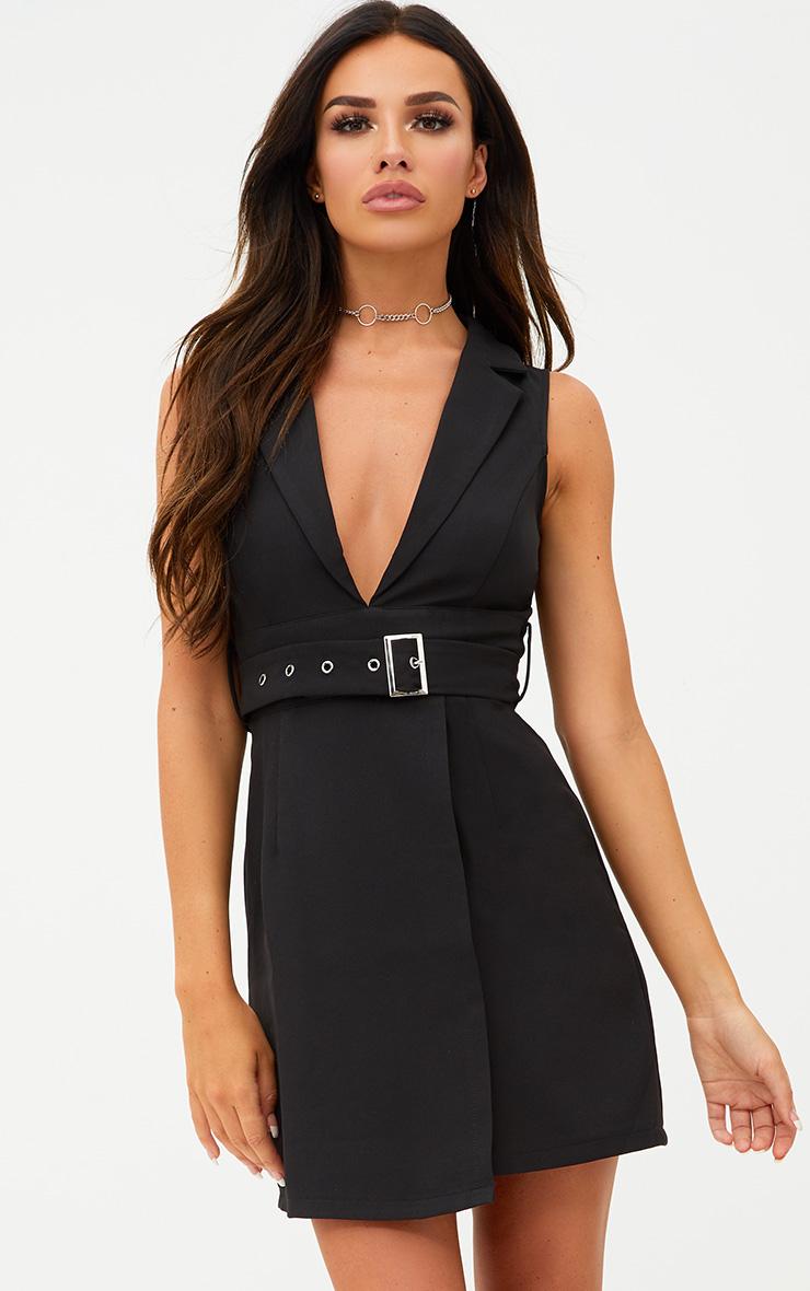 Black Sleeveless Tie Waist Blazer Dress 1