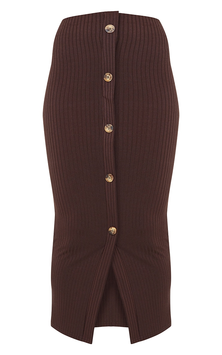 Chocolate Button Front Midaxi Skirt 5