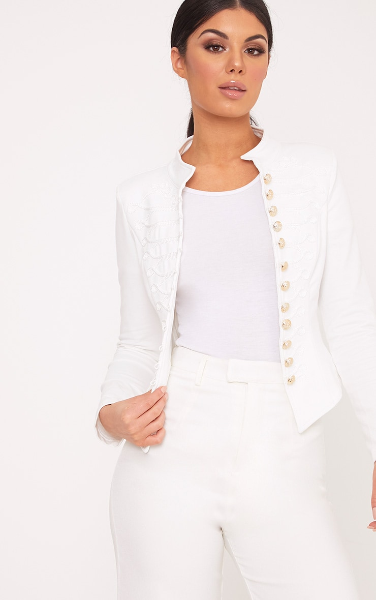 Zoeey White Slim Fit Cropped Military Jacket 1