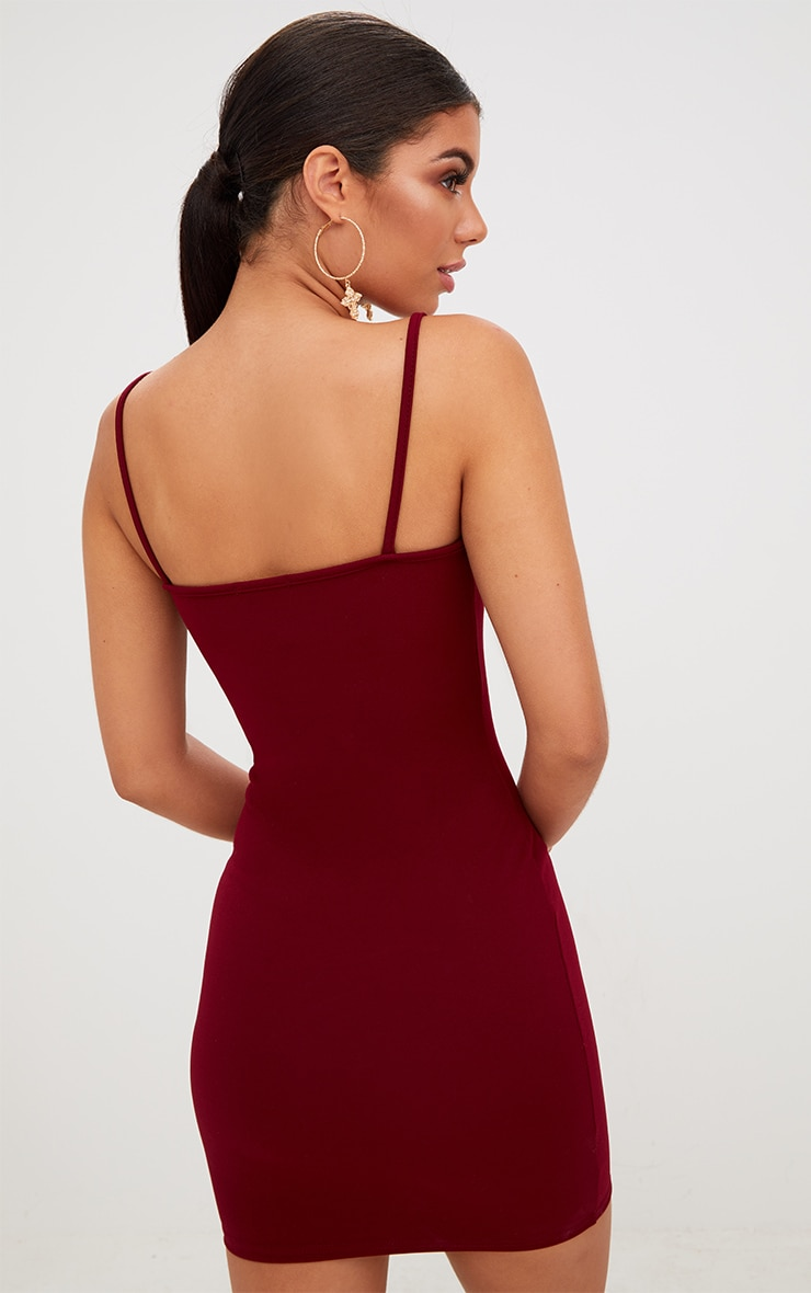 Burgundy Straight Neck Bodycon Dress 2