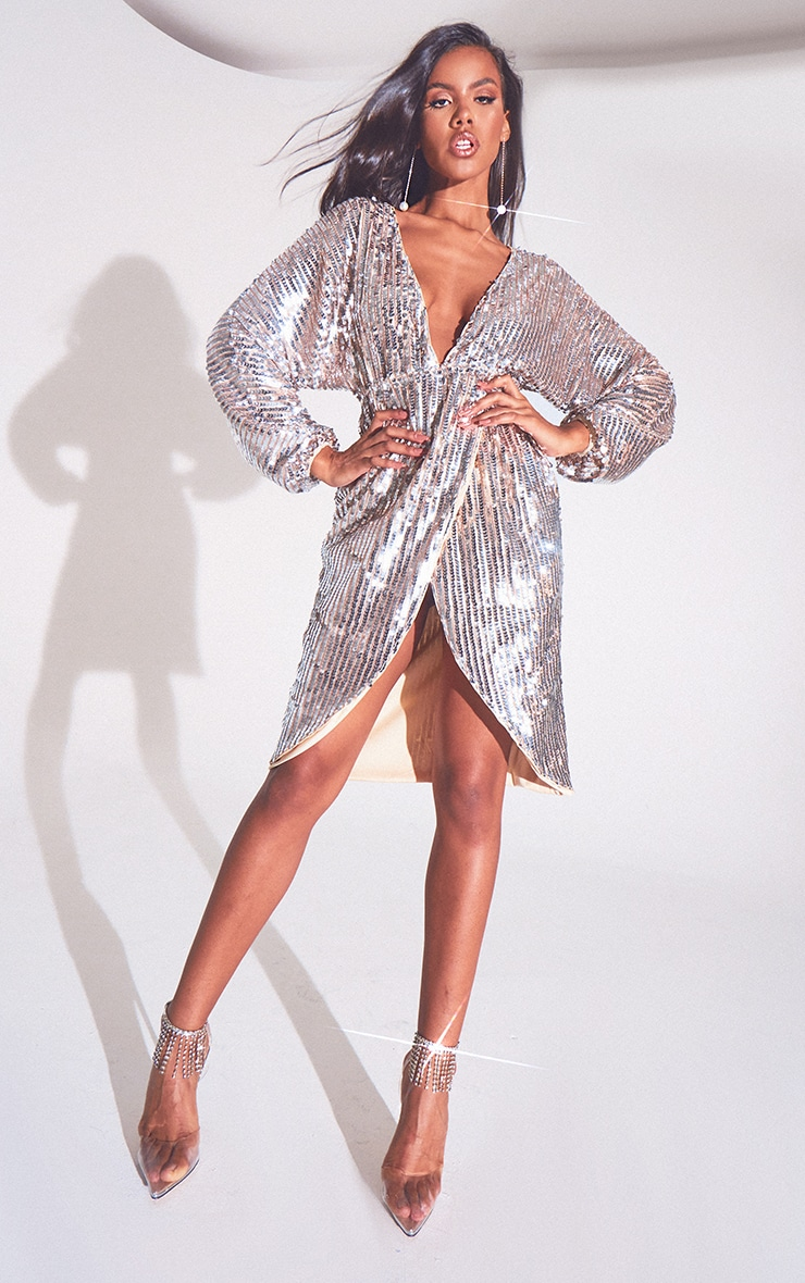 Silver Premium Sequin Kimono Sleeve Wrap Midi Dress 3