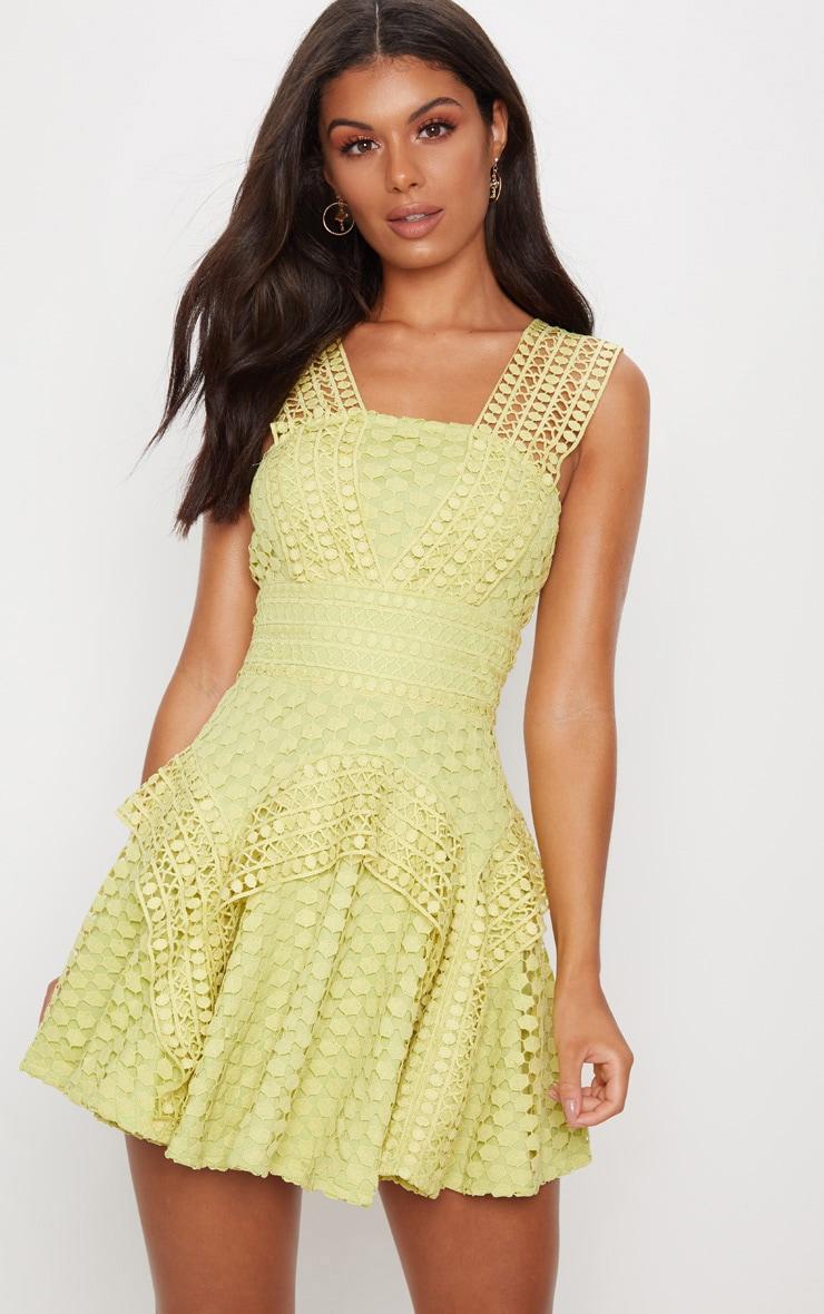 Chartreuse Lace V Strap Skater Dress