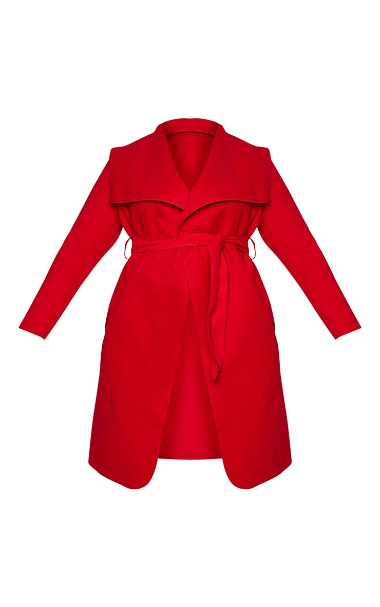 Plus Veronica Red Oversized Waterfall Belted Coat 5