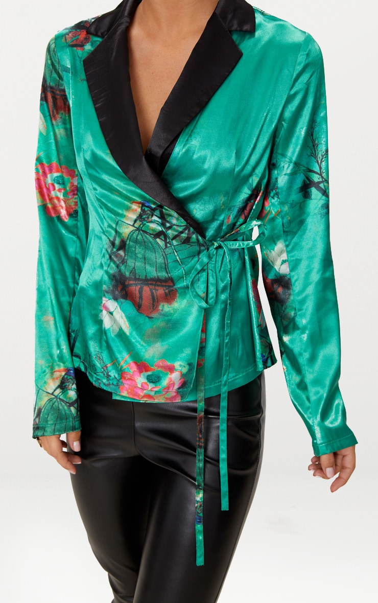 Emerald Green Floral Satin Lapel Blouse  5