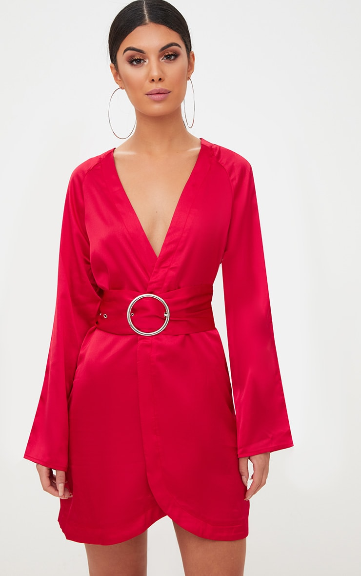 Red Satin Belted Shirt Dress 1
