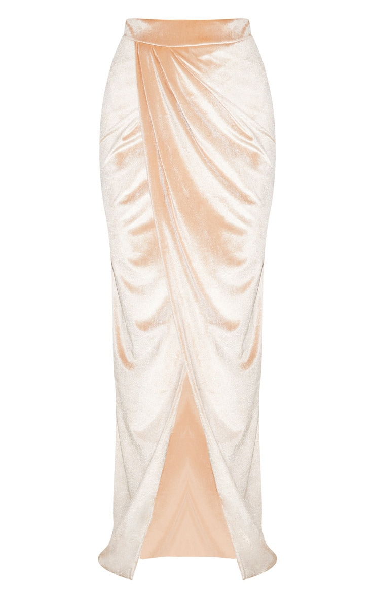 Champagne Velvet Wrap Maxi Skirt 4