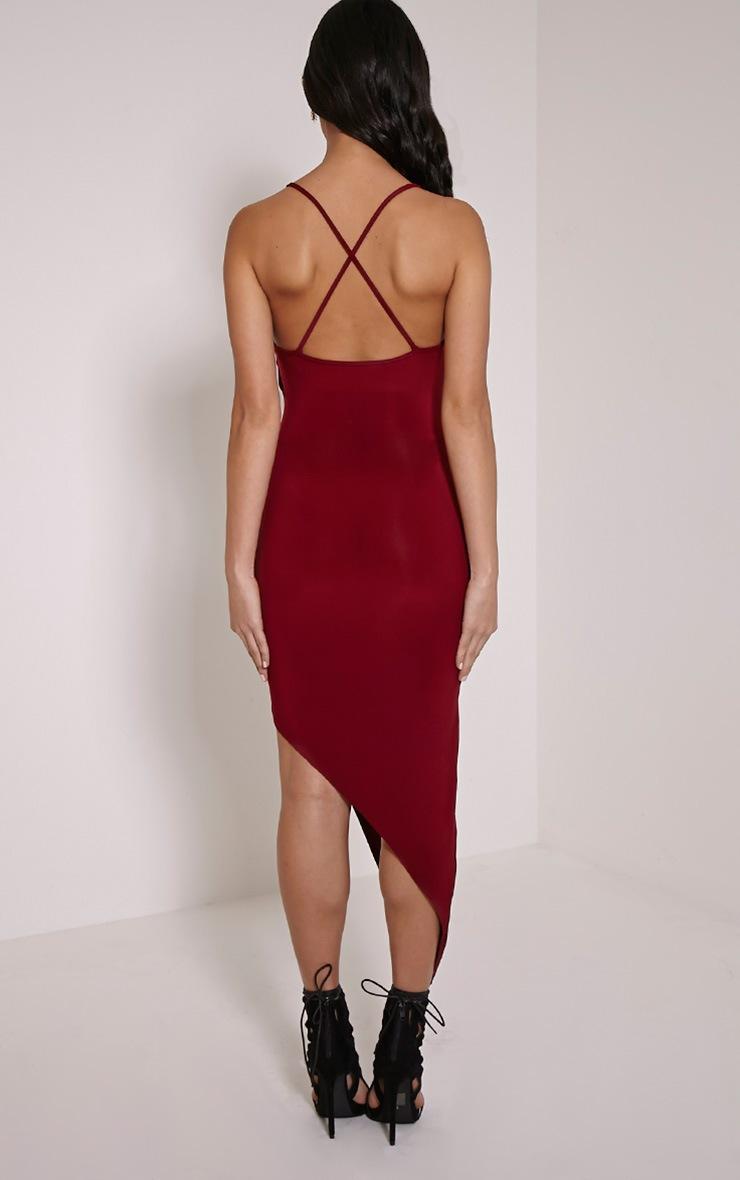 Zaire Burgundy Cross Back Asymmetric Ruched Dress 2