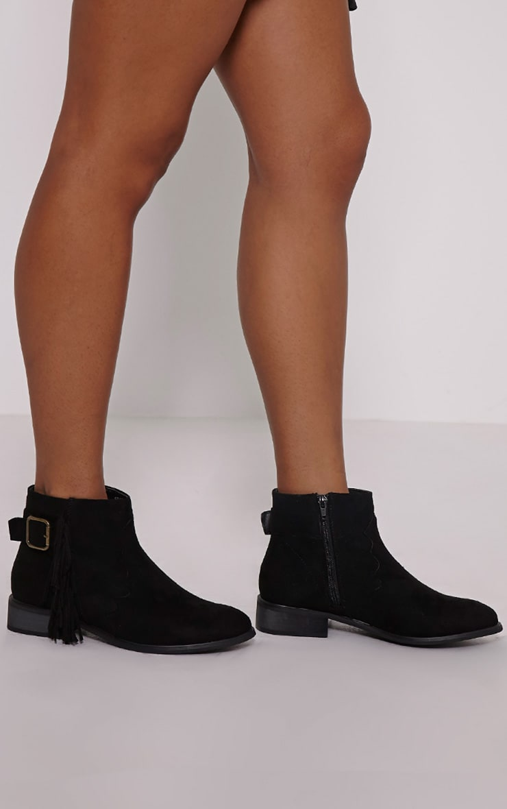 Lane Black Tassel Faux Suede Buckle Ankle Boots 1