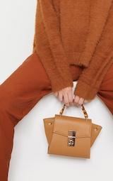 Tan Square Mini Bag Tortoiseshell Chain Handle 1