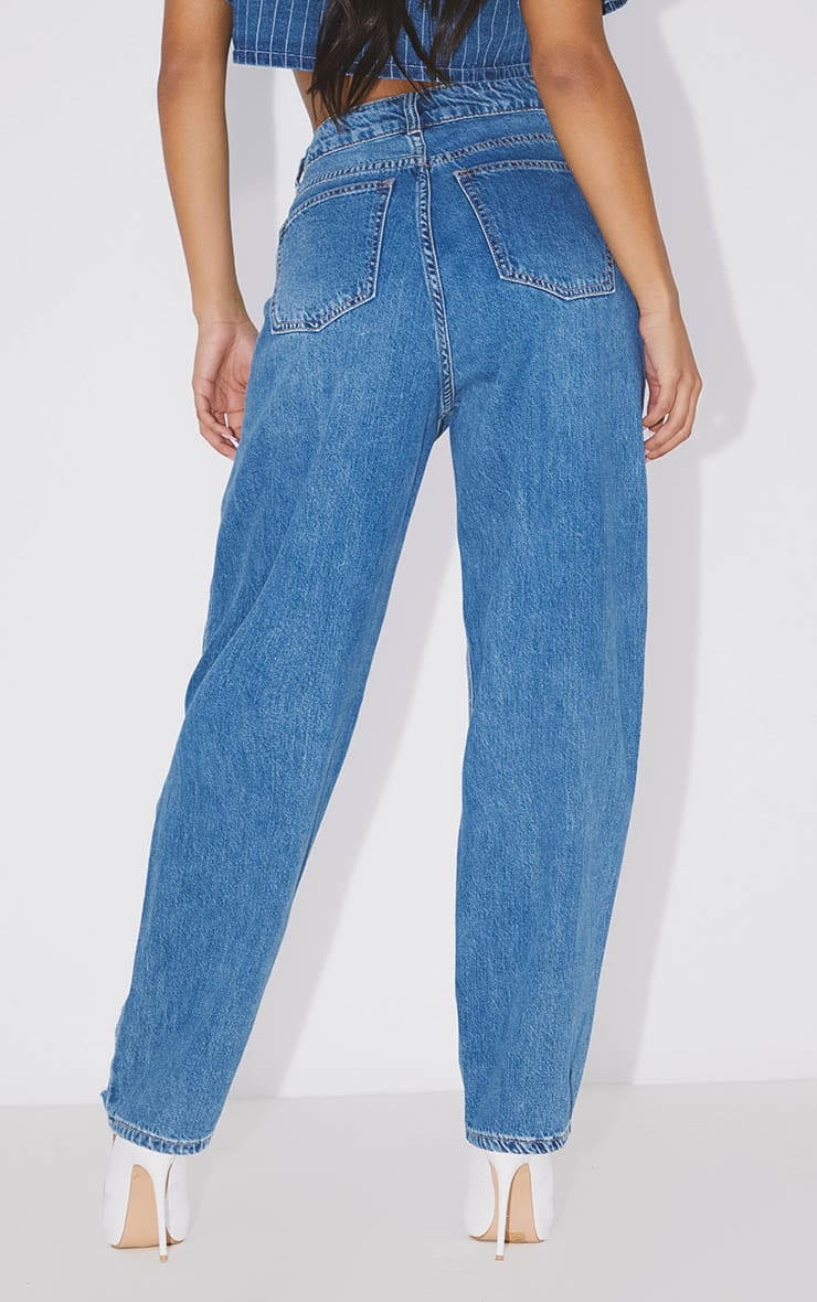 PRETTYLITTLETHING Mid Blue Distressed Boyfriend Jeans 4