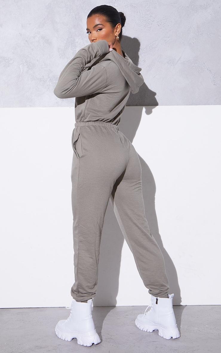 RENEW PRETTYLITTLETHING Light Khaki Hooded Sweat Jumpsuit 2
