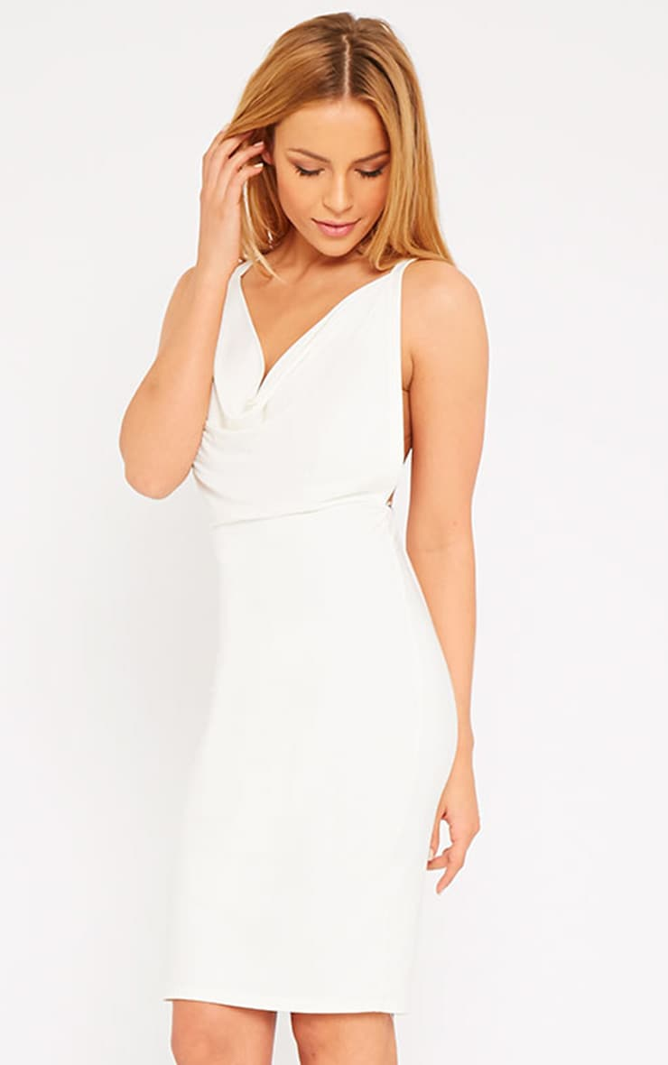 Orion Cream Slinky Cowl Neck Dress 1