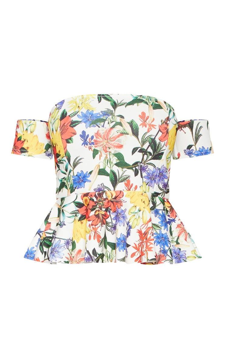 Multi Floral Print Bardot Peplum Top 3