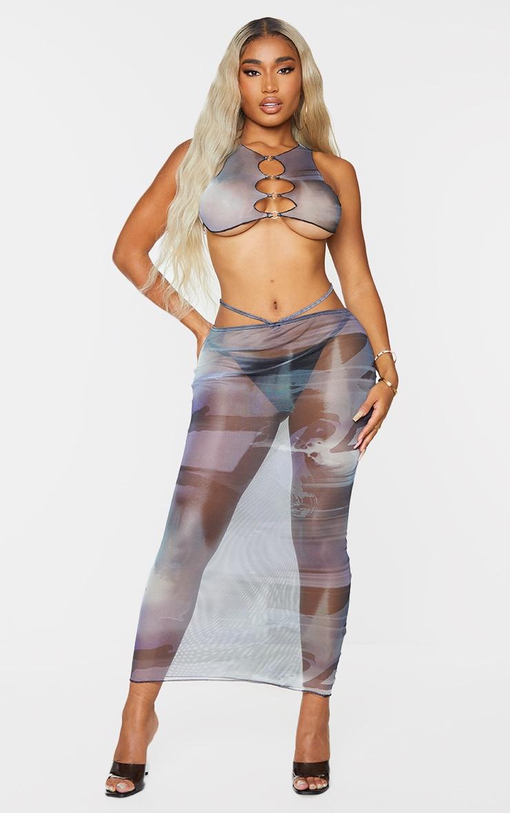 Shape Blue Smoke Print Sheer Mesh Ring Detail Midaxi Skirt 1
