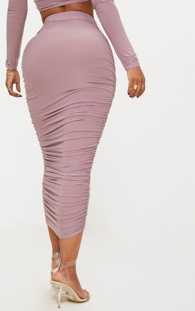 Shape Mauve Slinky Ruched Midi Skirt 4