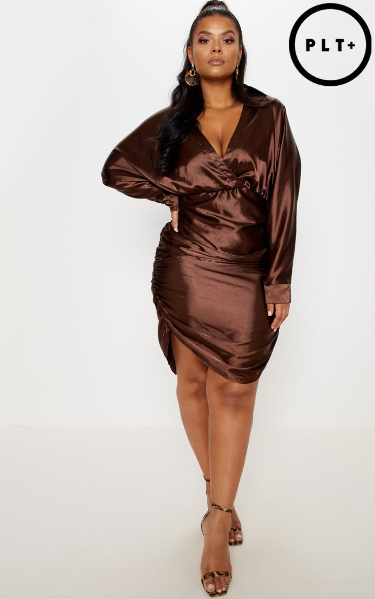 Chocolate Brown Ruched Side Midi Dress  4