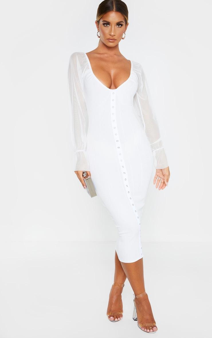 White Hook and Eye Mesh Sleeve Midi Dress 2