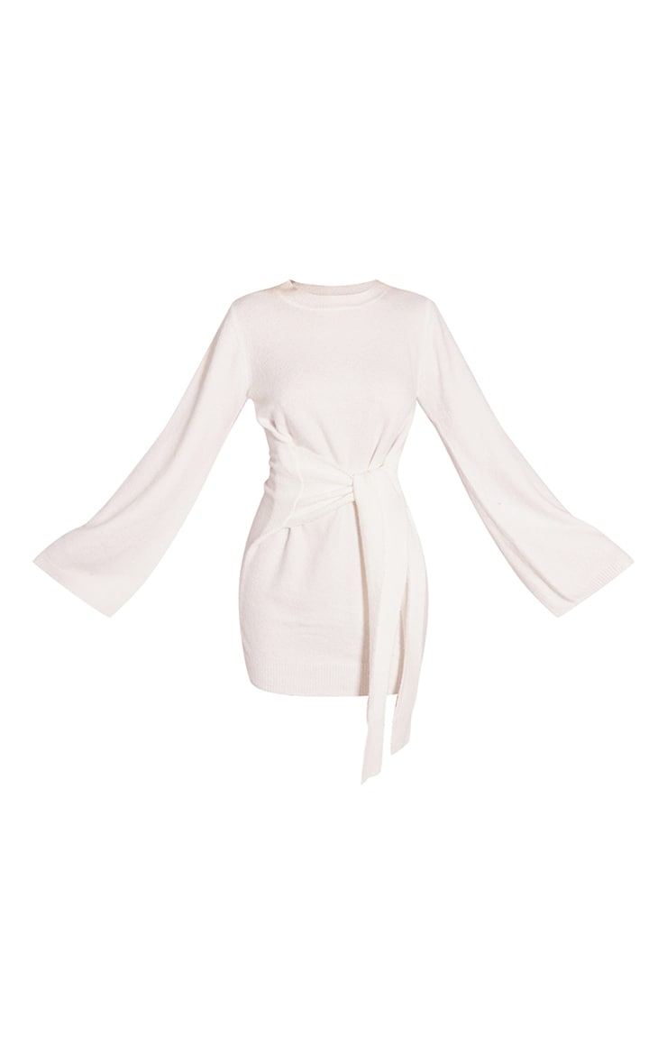Recycled Cream Knitted Tie Front Wide Sleeve Dress 5