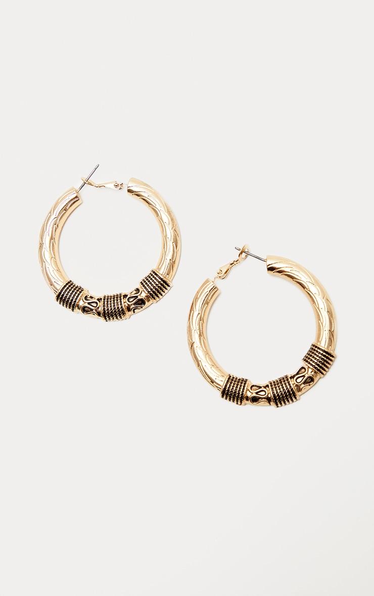 Gold Medium Rope Textured Wrapped Hoop Earrings 2