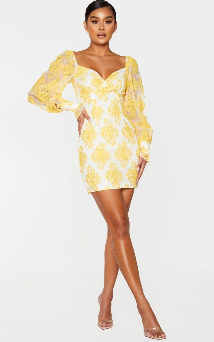 Lemon Button Detail Lace Bodycon Dress 3