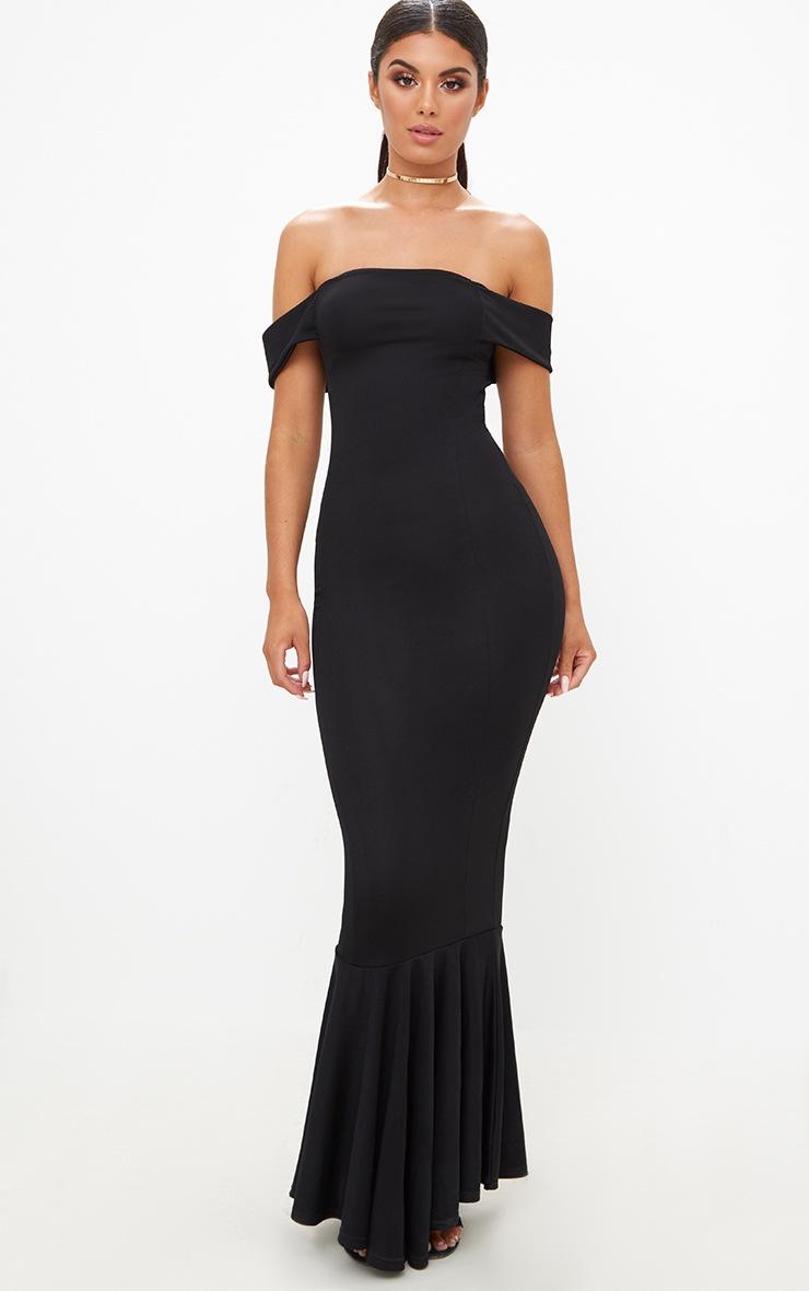 Black Bardot Frill Hem Maxi Dress 4