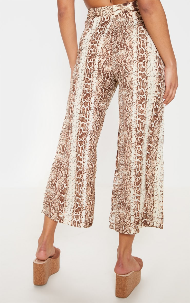 Brown Button Front Snake Print Culotte 4