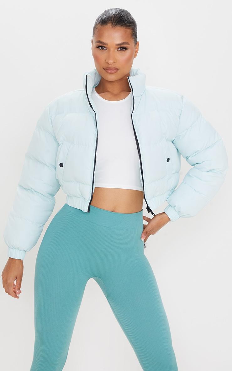 Mint Cropped Elastic Hem Bubble Puffer Jacket 1