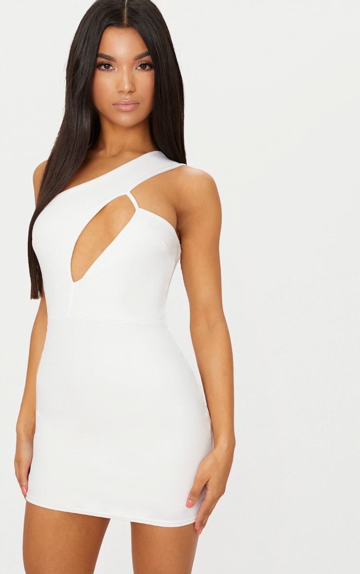 Clearance Best Prices White One Shoulder Cut Out Detail Bodycon Dress Pretty Little Thing Sale Footlocker Buy Cheap Excellent dp0a2OnvE