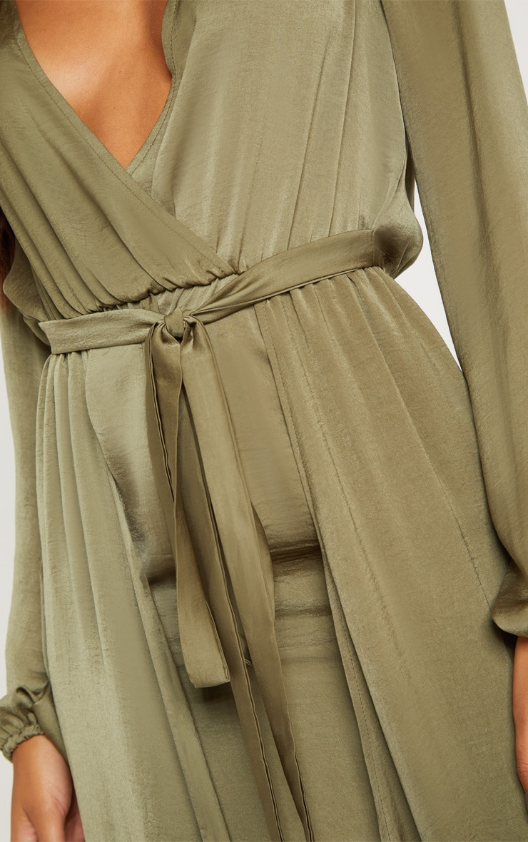 Sage Green Satin Plunge 2 in 1 Maxi Dress 5