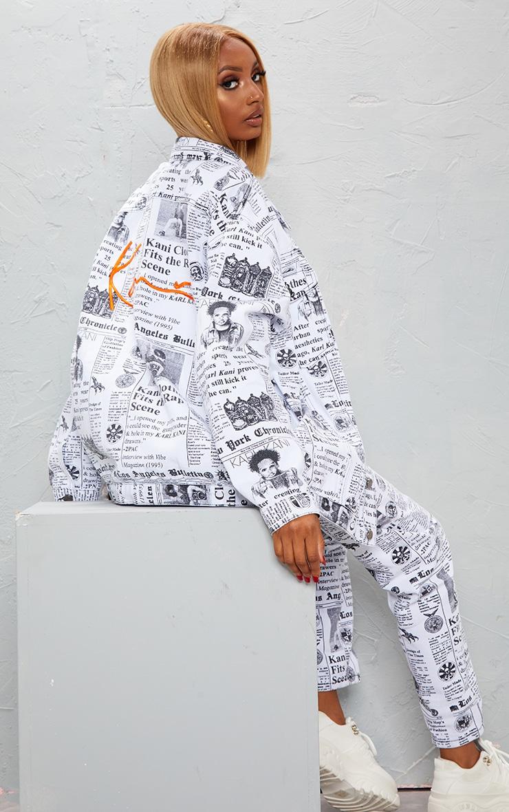 KARL KANI Monochrome Newspaper Oversized Denim Jacket 4