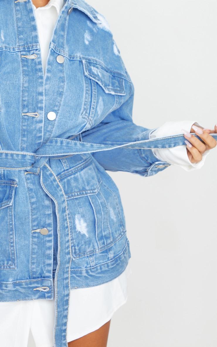 Mid Blue Wash Distressed Cargo Pocket Tie Waist Denim Jacket 4