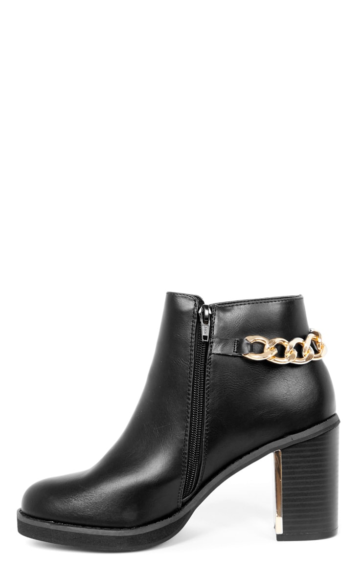 Gina Black Gold Chain Detail Heeled Boot  1