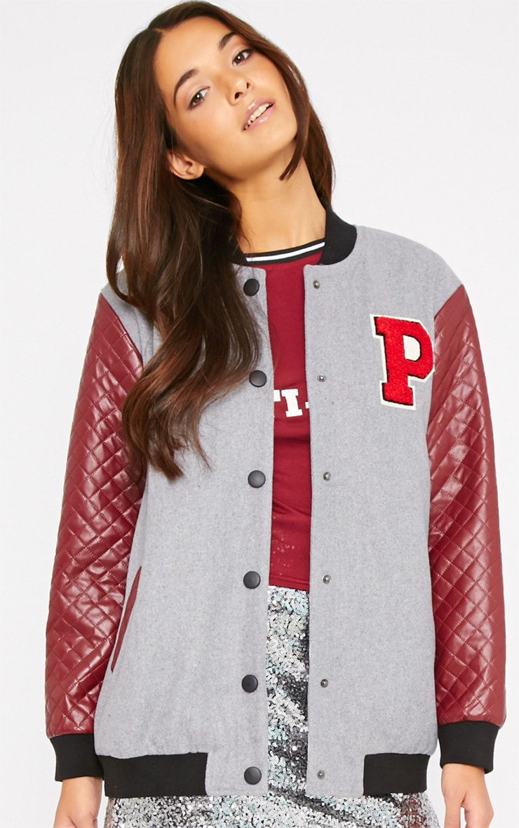 Yas Leather Sleeve Varsity Bomber Jacket  4