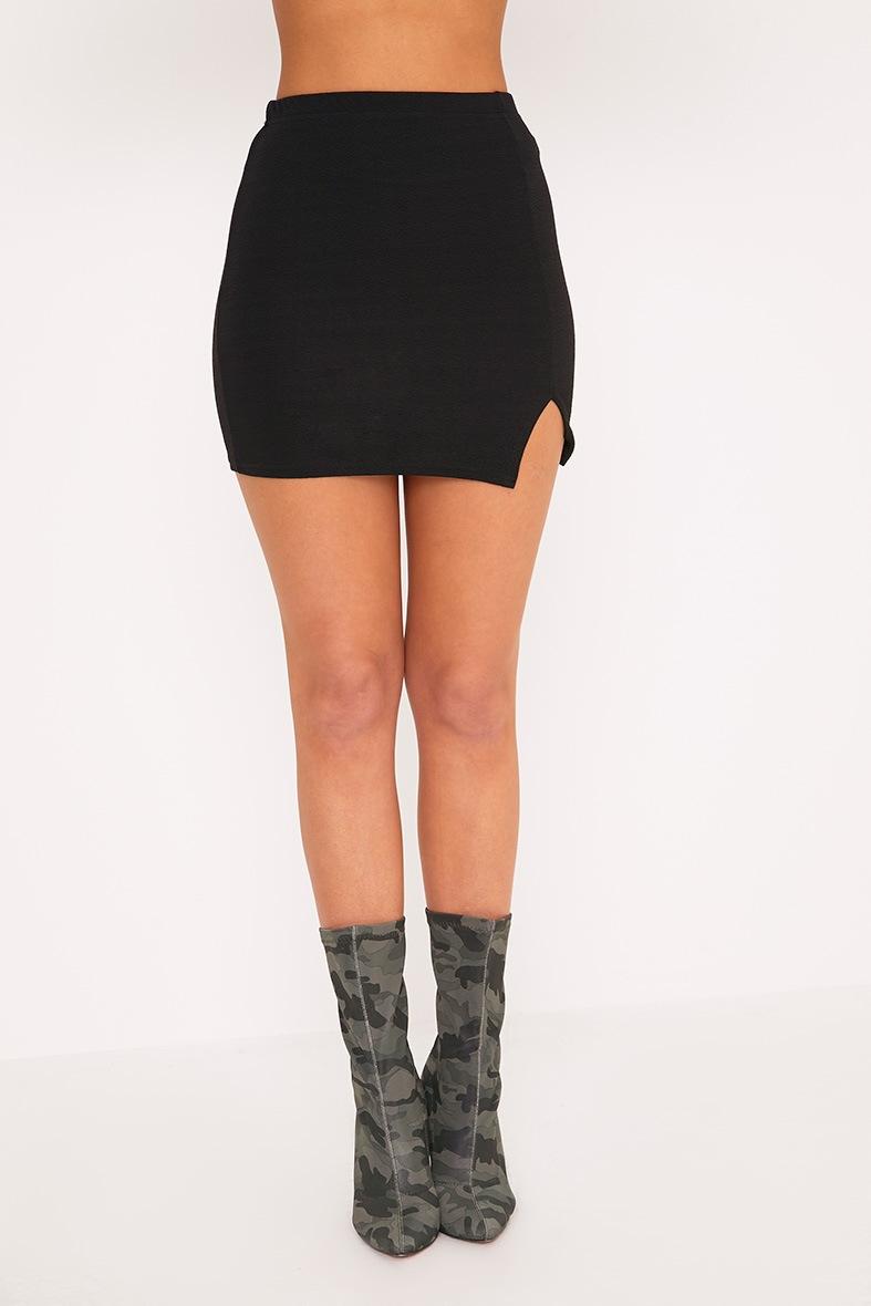 Jemmia Black Split Mini Skirt  2