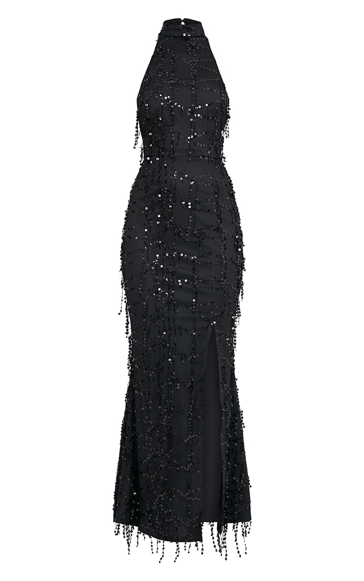 Maya Black Sequin Fishtail Maxi Dress 3