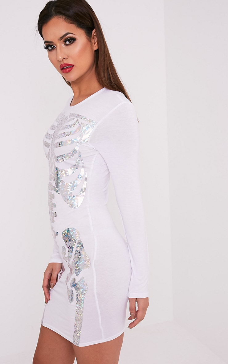 Holographic Skeleton Print White Bodycon Dress 3