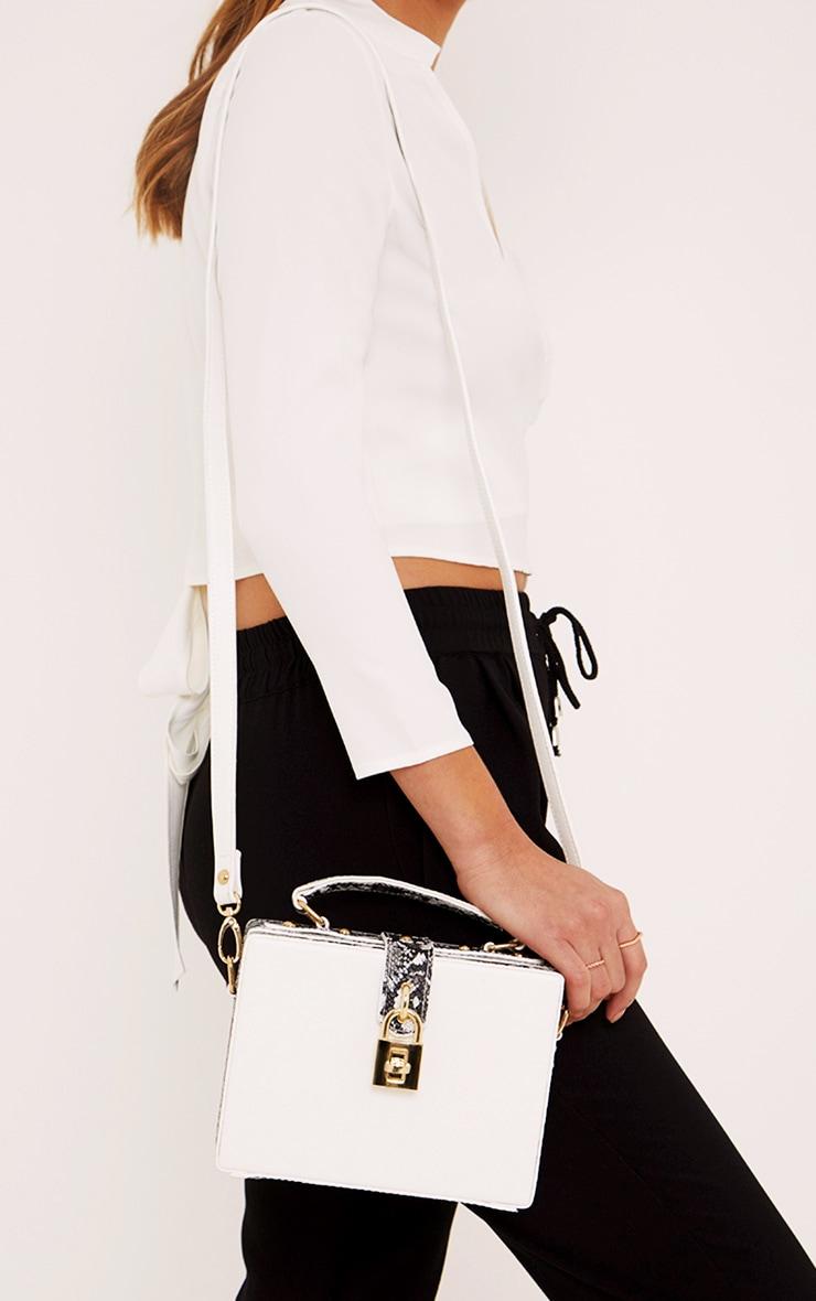 Zara White Padlock Box Bag 1