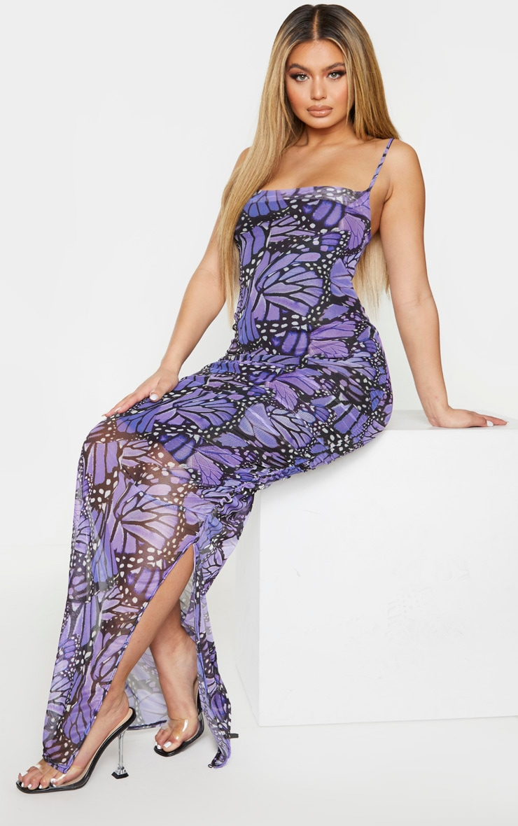Purple Butterfly Print Mesh Strappy Maxi Dress