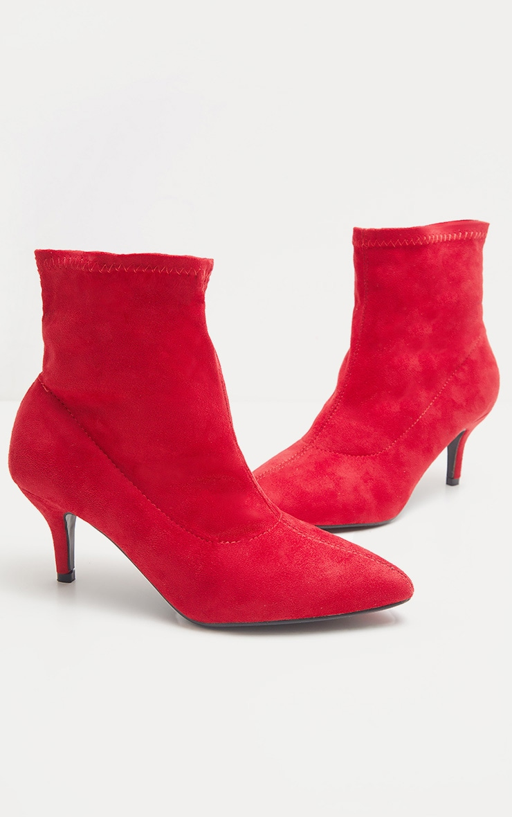 Red Faux Suede Kitten Heel Boot