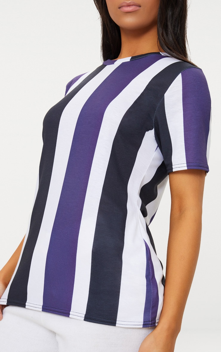 Black Multi Striped T Shirt  5