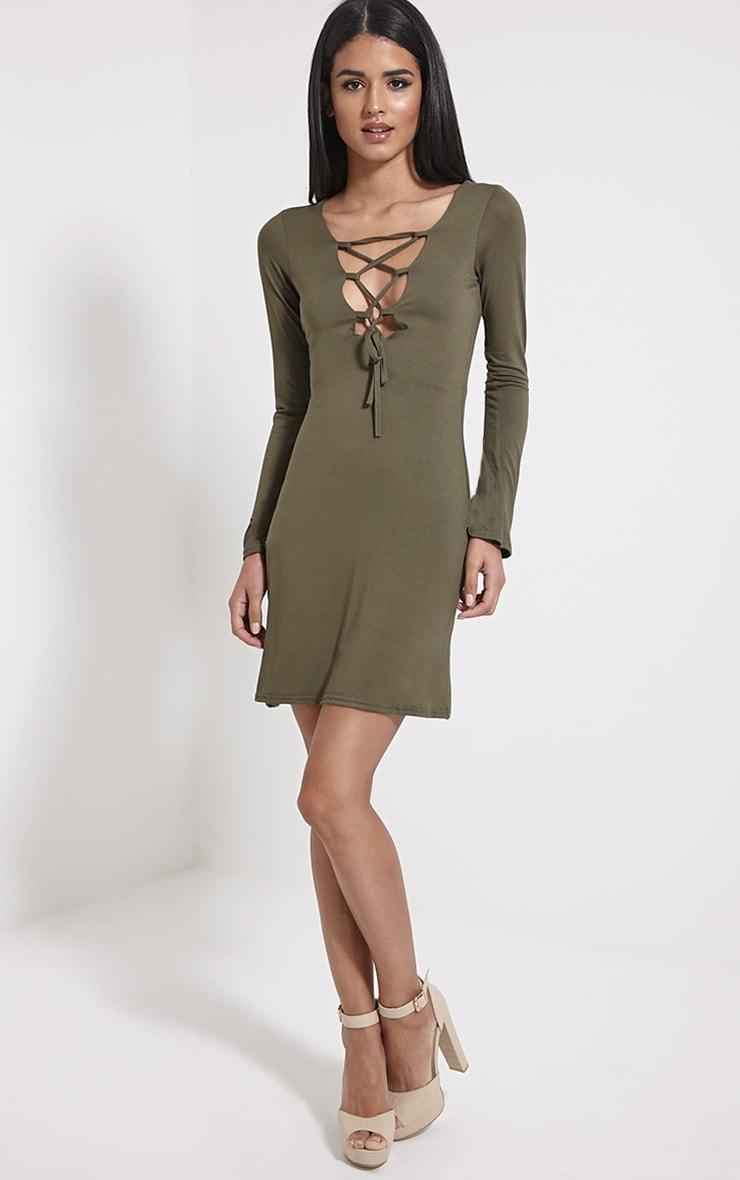 Remilda Khaki Lace Up Jersey Dress 3
