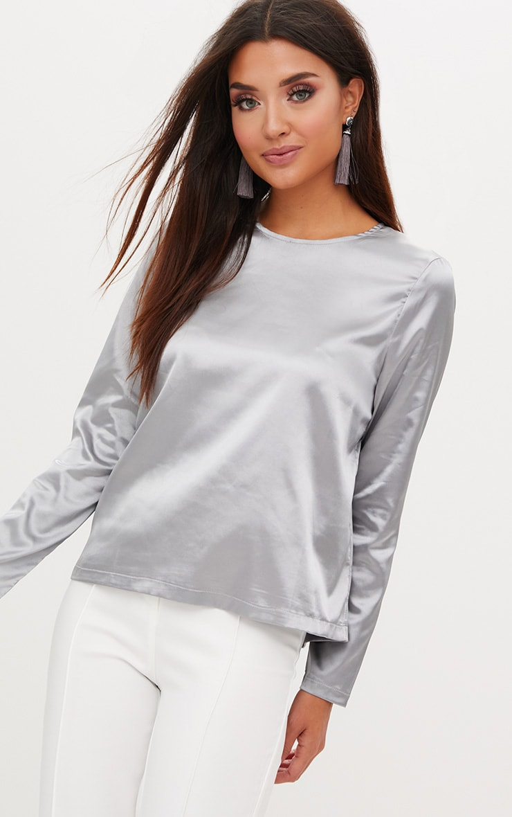 Dark Grey Satin Crew Neck Longsleeve Top  1