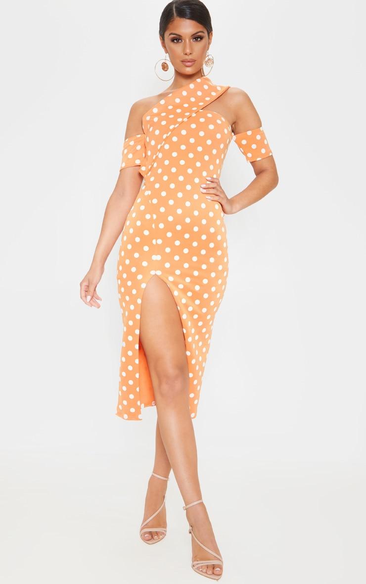 Tangerine Polka Dot Bardot Drape Split Midi Dress | PrettyLittleThing AUS