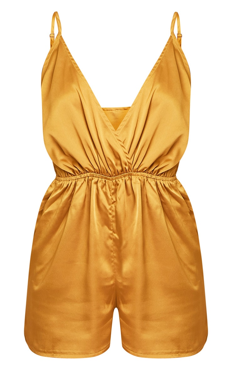 Rosilee Gold Strappy Satin Playsuit 3