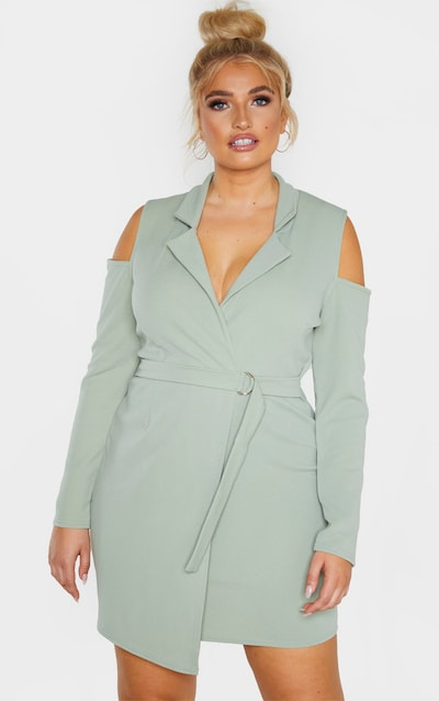Plus Sage Green Cold Shoulder Ring Detail Blazer Dress