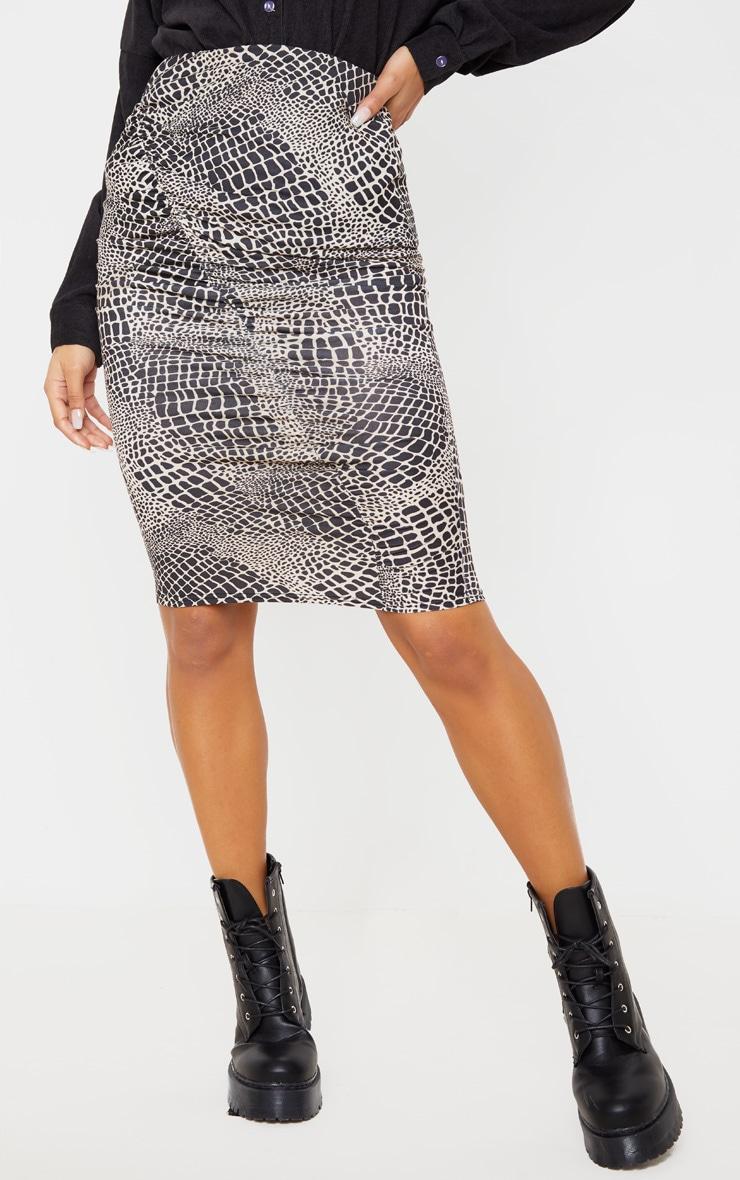 Stone Croc Print Ruched Side Midi Skirt 2