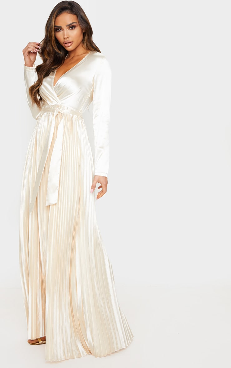 Champagne Satin Pleated Maxi Dress 1