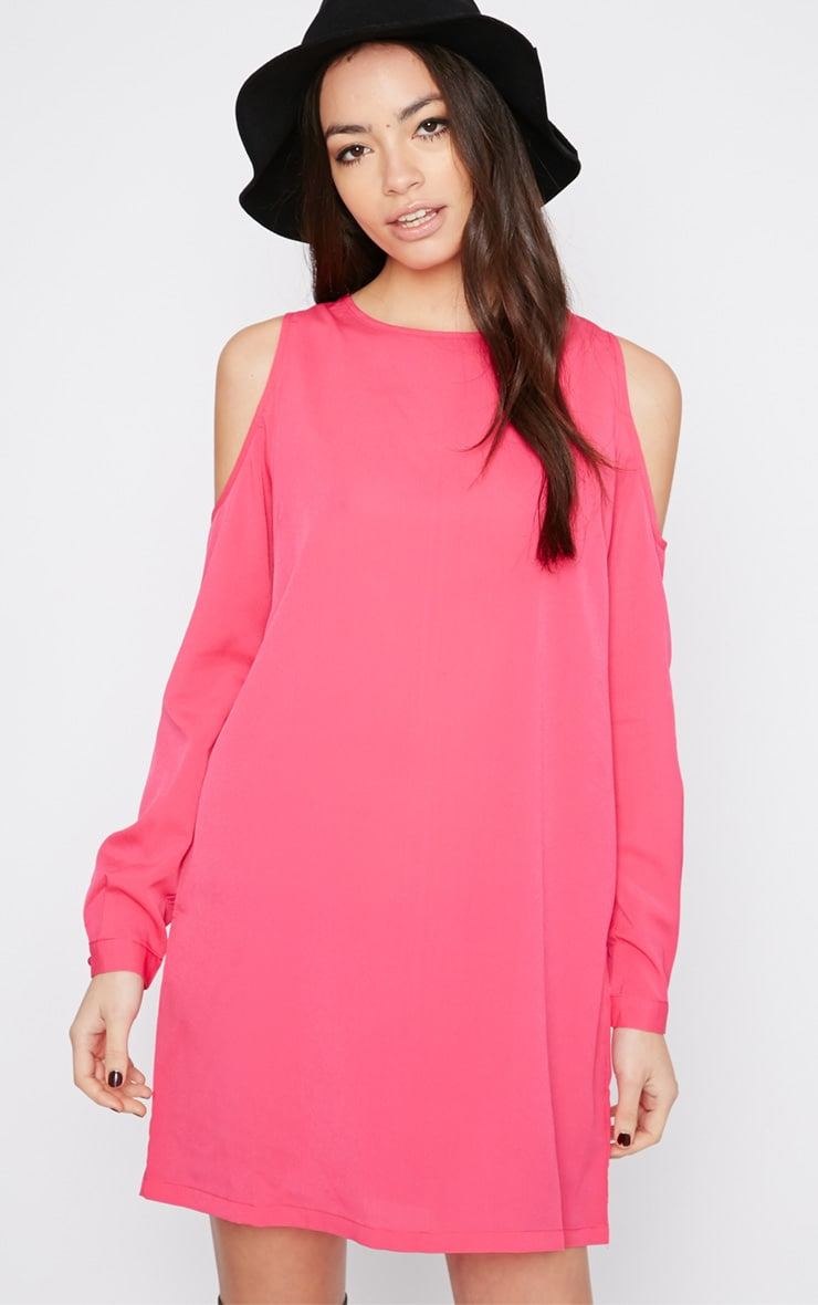 Genny Pink Cut Out Shoulder Dress 4
