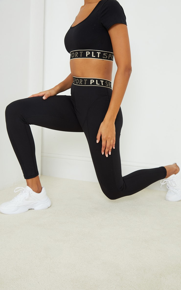 PRETTYLITTLETHING Black Sculpt Luxe Stitch High Waist Detail Gym Leggings 2