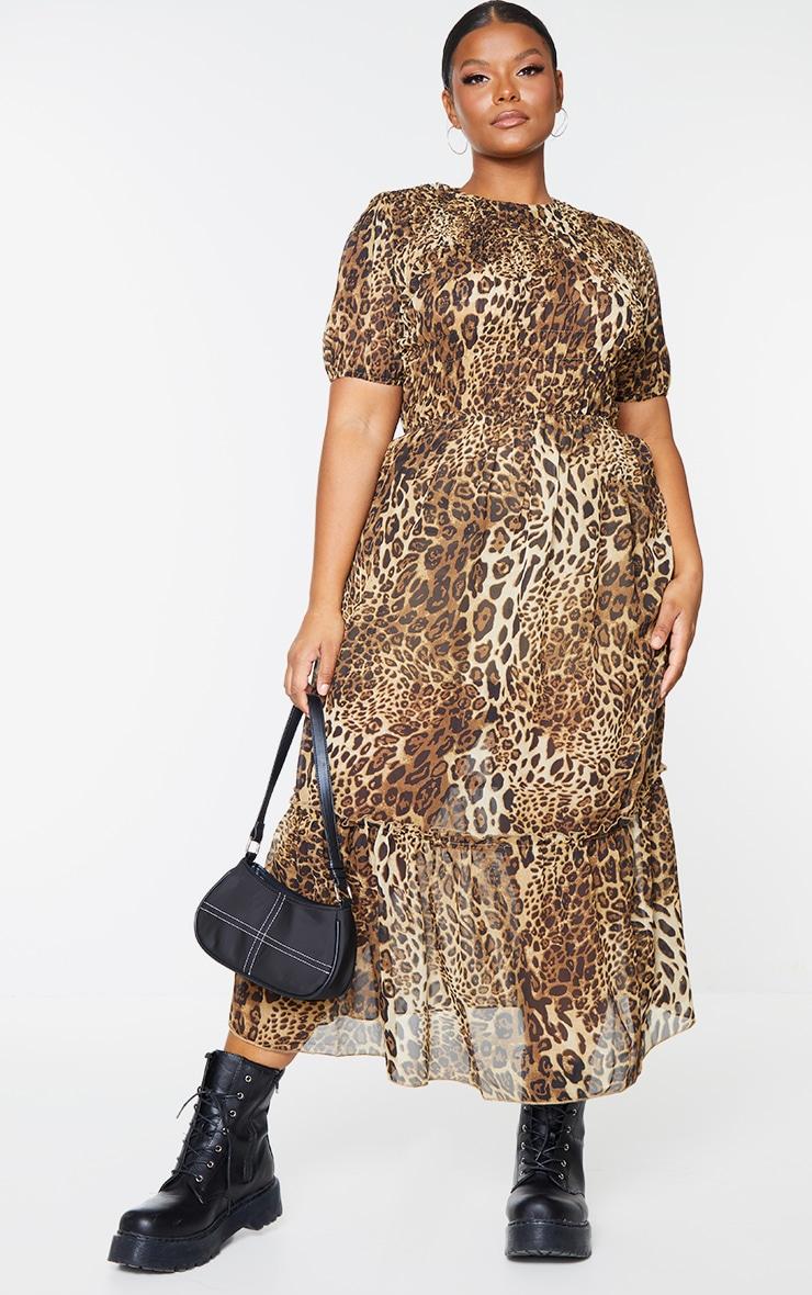 Plus Brown Leopard Print Chiffon Shirred Maxi Dress 1